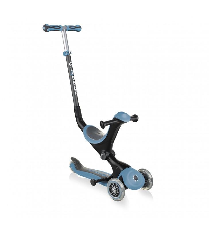 Trotinete de Criança com 3 rodas evolutiva e luzes Led nas rodas - Azul cinza